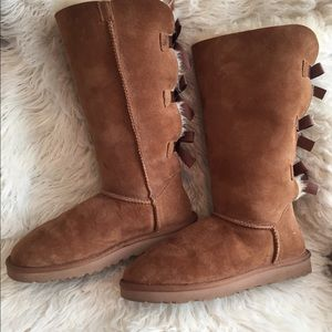 Tan Ugh Boots with Ribbon Back
